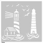 FabScraps - Beach Bliss Collection - 8 x 8 Plastic Stencil - Lighthouses