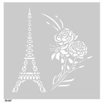FabScraps - Vintage Elegance Collection - 8 x 8 Plastic Stencil - Eiffel Tower and Rose Bouquet
