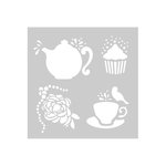 FabScraps - For The Love Of Tea Collection - 8 x 8 Plastic Stencil - Tea Time
