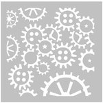 FabScraps - Dream Steam Collection - 8 x 8 Plastic Stencil - Cogs