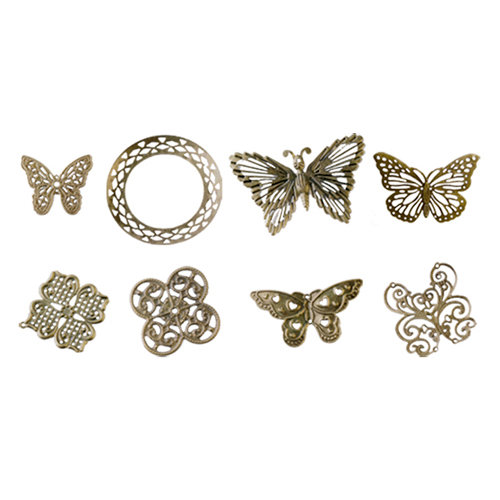 FabScraps - Metal Embellishments Box - Filigree - Old Brass 2