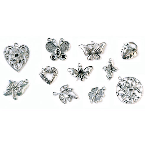 FabScraps - Metal Embellishments Box - Charms - Old Silver 1
