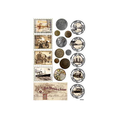 FabScraps - Romantic Travel Collection - Stickers - Stamps and Coins