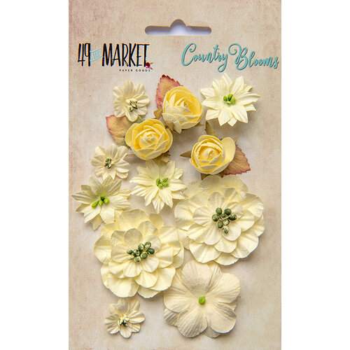 49 and Market - Flower Embellishments - Country Blooms - Cream