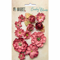 49 and Market - Flower Embellishments - Country Blooms - Scarlet
