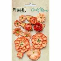 49 and Market - Flower Embellishments - Country Blooms - Tangerine