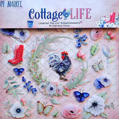49 and Market - Cottage Life Collection - Layered Embellishments Stickers