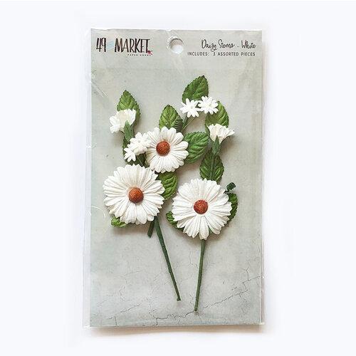 49 and Market - Flower Embellishments - Daisy Stems - White