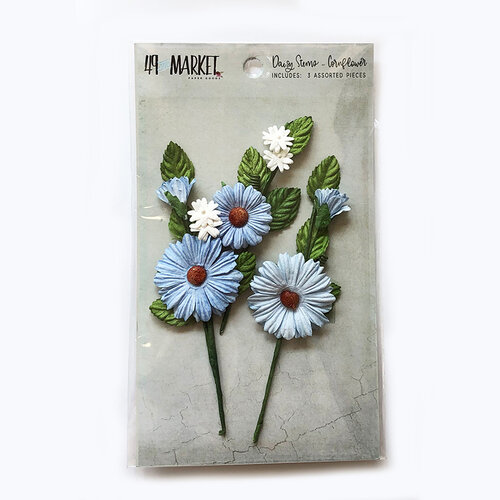 49 and Market - Flower Embellishments - Daisy Stems - Cornflower