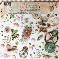 49 and Market - Ethereal Collection - Layered Embellishments with Glitter Accents