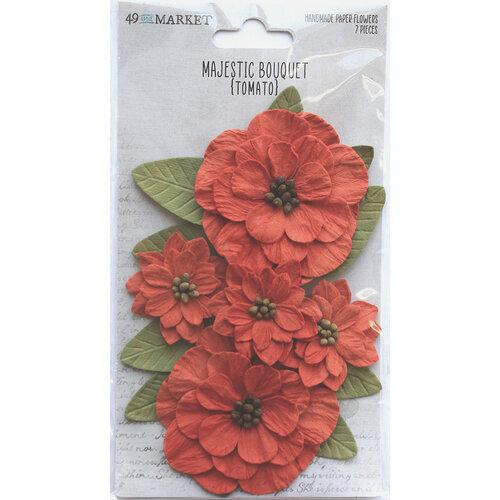 49 and Market - Flower Embellishments - Majestic Bouquet - Tomato