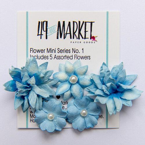 49 and Market - Flower Embellishments - Flower Mini Series 01 - Cobalt
