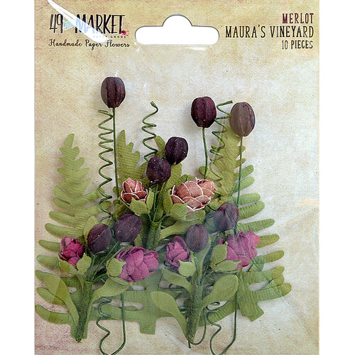49 and Market - Flower Embellishments - Maura's Vineyard - Merlot