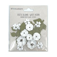 49 and Market - Flower Embellishments - Rustic Blooms - White Heron