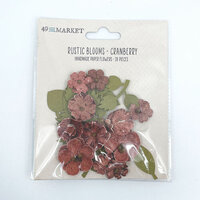 49 and Market - Flower Embellishments - Rustic Blooms - Cranberry