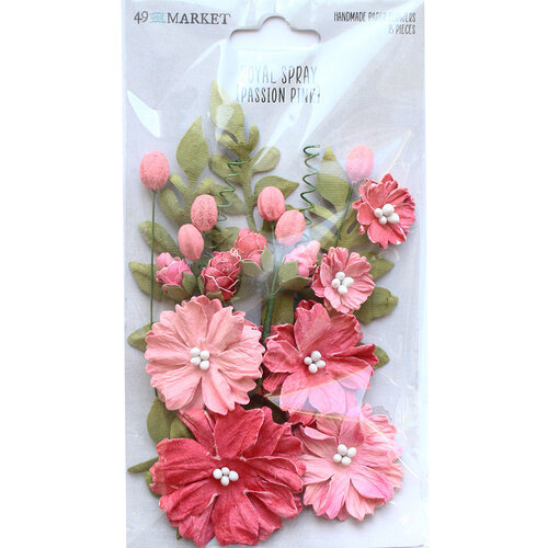 49 and Market - Flower Embellishments - Royal Spray - Passion Pink