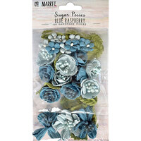 49 and Market - Flower Embellishments - Sugar Posies - Blue Raspberry