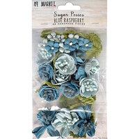 49 and Market - Flower Embellishments - Sugar Posies - Blue Raspberry
