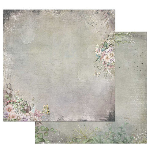 49 and Market - Tattered Garden Collection - 12 x 12 Double Sided Paper - Tattered Flourish