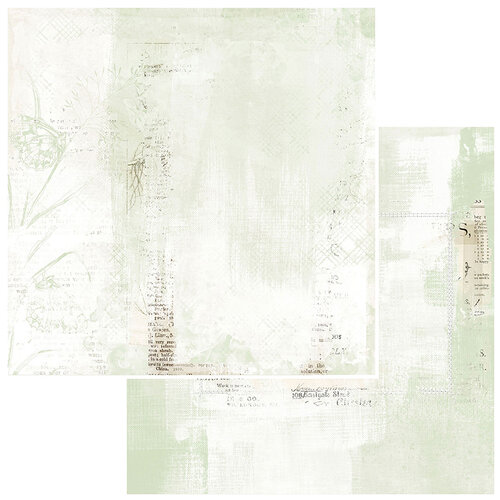 49 and Market - Vintage Artistry Sage Collection - 12 x 12 Double Sided Paper - Papillon