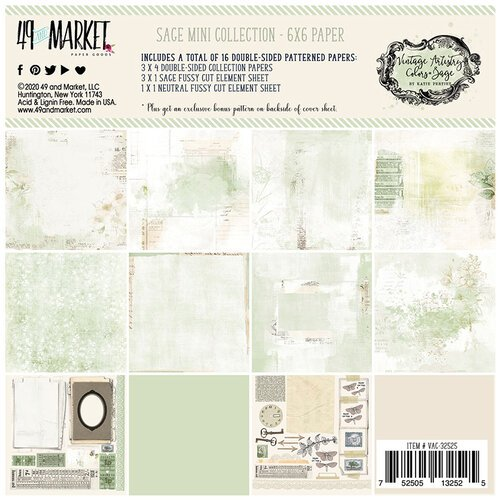 49 and Market - Vintage Artistry Sage Collection - 6 x 6 Collection Pack