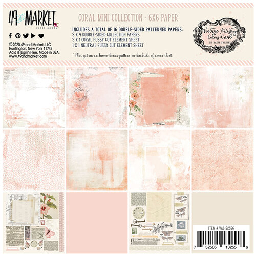 49 and Market - Vintage Artistry Coral Collection - 6 x 6 Collection Pack