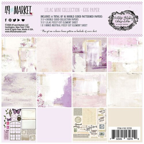 49 and Market - Vintage Artistry Lilac Collection - 6 x 6 Collection Pack