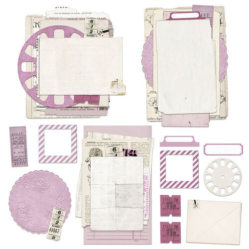 49 and Market - Vintage Artistry Lilac Collection - Ephemera Collage Stack