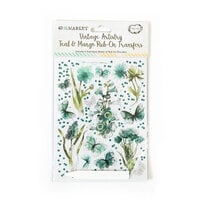 49 and Market - Vintage Artistry In Teal Collection - Teal and Mango Rub-On Transfers
