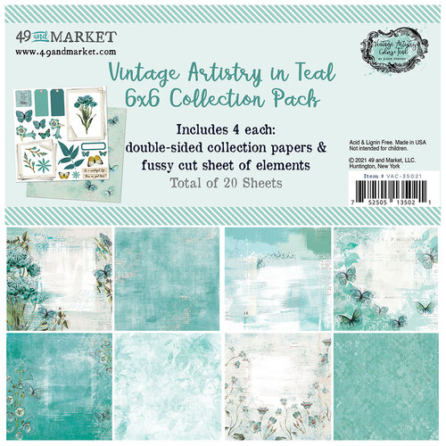 49 and Market - Vintage Artistry In Teal Collection - 6 x 6 Collection Pack