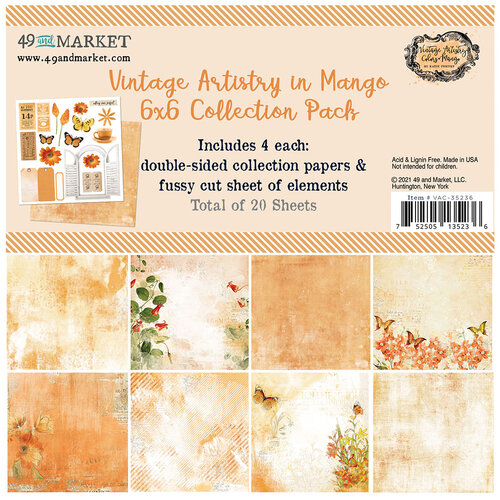 49 and Market - Vintage Artistry In Mango Collection - 6 x 6 Collection Pack