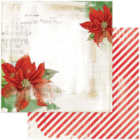 49 and Market - Christmas - Vintage Artistry Noel Collection - 12 x 12 Double Sided Paper - Euphorbia Garden