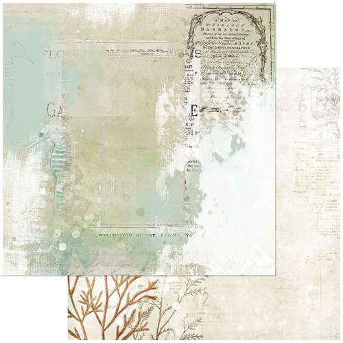 49 and Market - Vintage Artistry Shore Collection - 12 x 12 Double Sided Paper - Tidepool