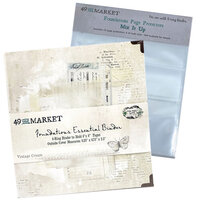 49 and Market - Foundations - 6-Ring Binder with Mix It Up Page Protectors - Vintage Cream Bundle