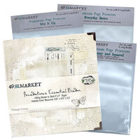 49 and Market - Foundations - 6-Ring Binder with Variety Pack Page Protectors - Vintage Cream Bundle