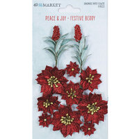 49 and Market - Vintage Artistry Peace and Joy Collection - Flower Embellishments - Festive Berry