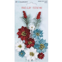 49 and Market - Vintage Artistry Peace and Joy Collection - Flower Embellishments - Festive Mix