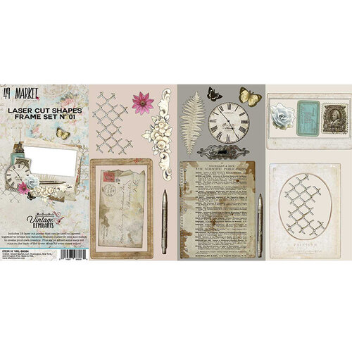 49 and Market - Vintage Remnants Collection - 12 x 12 Double Sided Paper - Laser Cut Shapes - Frame Set 1