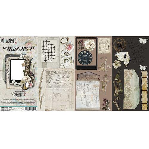 49 and Market - Vintage Remnants Collection - 12 x 12 Double Sided Paper - Laser Cut Shapes - Frame Set 2