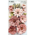 49 and Market - Flower Embellishments - Botanical Blends - Vintage Shades - Cerise