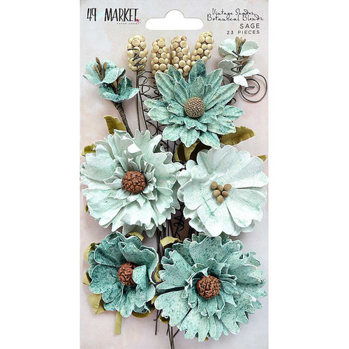 49 and Market - Flower Embellishments - Botanical Blends - Vintage Shades - Sage