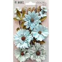 49 and Market - Flower Embellishments - Botanical Blends - Vintage Shades - Blue