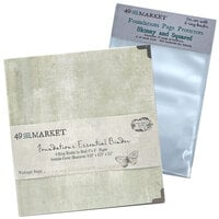 49 and Market - Foundations - 6-Ring Binder with Skinny and Squared Page Protectors - Vintage Sage Bundle