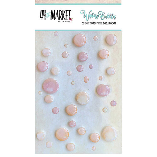 49 and Market - Wishing Bubbles - Epoxy Stickers - Cream Soda