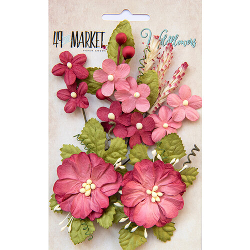49 and Market - Flower Embellishments - Wildflowers - Scarlet