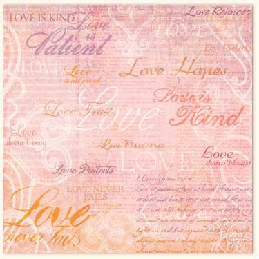 Flair Designs - Amazing Grace Collection - 12x12 Paper  - Love Is, CLEARANCE