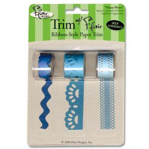 Flair Designs - Trim with Flair - Self Adhesive Paper Trim - Ocean Water, CLEARANCE