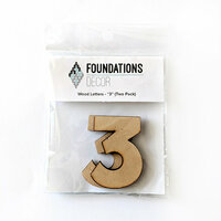 Foundations Decor - Wood Crafts - Wood Numbers - 3