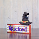 Foundations Decor - Halloween Collection - Wood Crafts - Picture Holder - Witch Complete Set