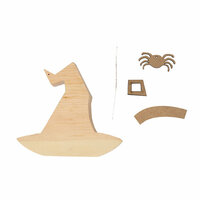 Foundations Decor - Halloween Collection - Wood Crafts - Witch Hat with Spider